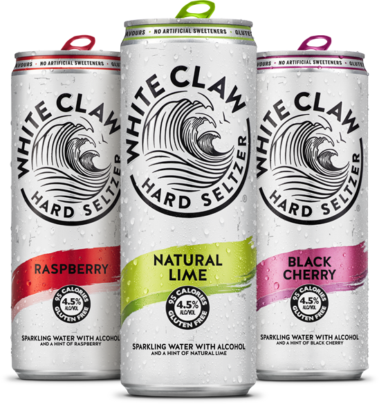 White Claw is available in Raspberry, Natural Lime and Black Cherry flavours